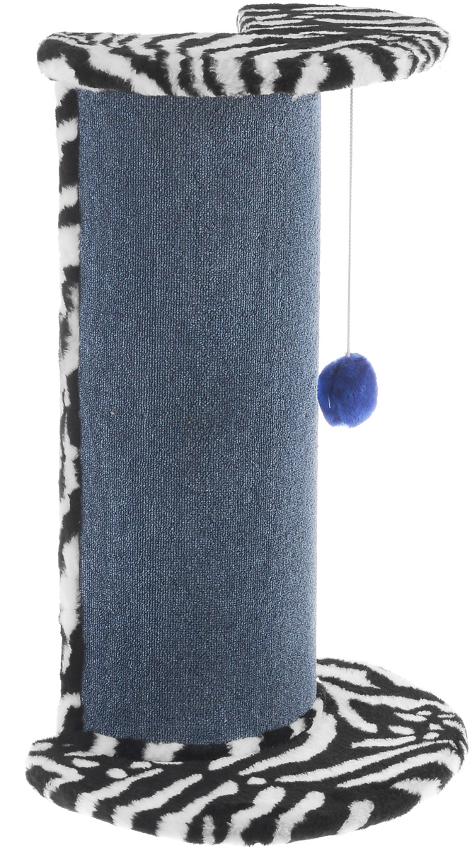 Когтеточка  ЗооМарк , угловая, цвет: мех зебра, ковролин синий, 50 х 35 х 79 см