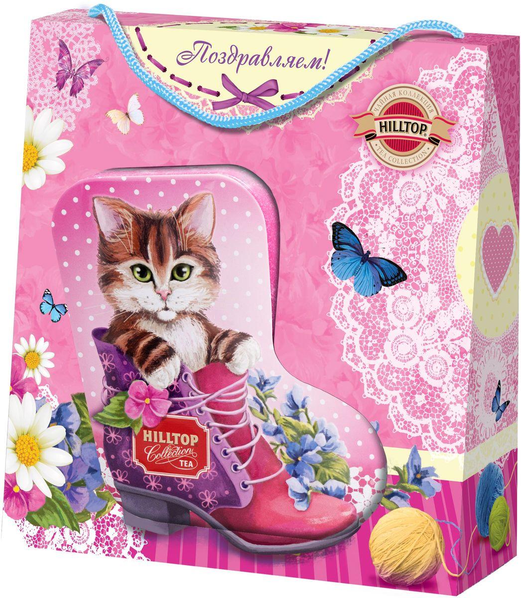 """Фото Hilltop """"Забавный котенок"""" черный листовой чай земляника со сливками, 80 г. Купить  в РФ"""