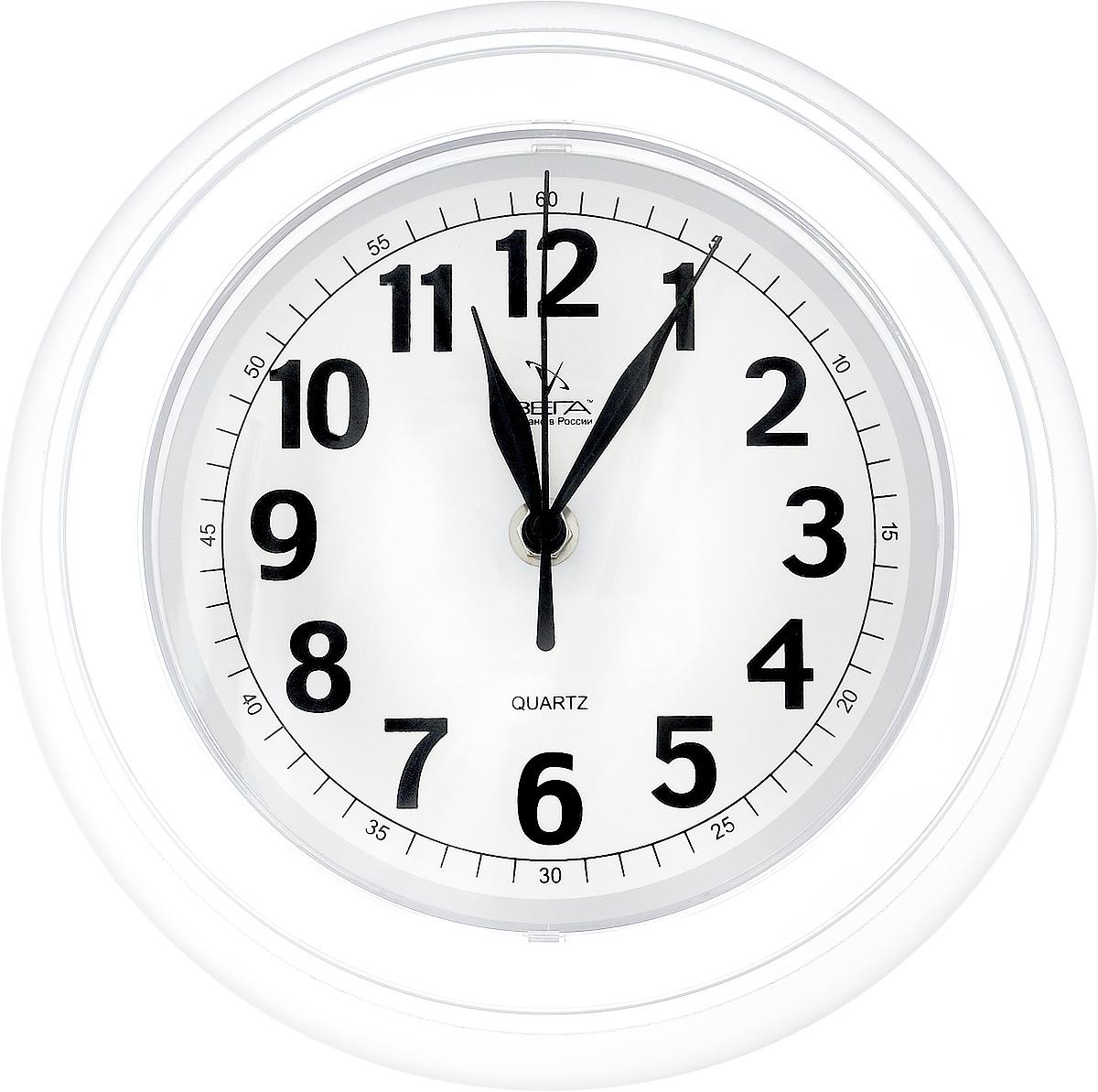 """Фото Часы настенные Вега """"Классика"""", цвет: белый, прозрачный, диаметр 22 см. Купить  в РФ"""