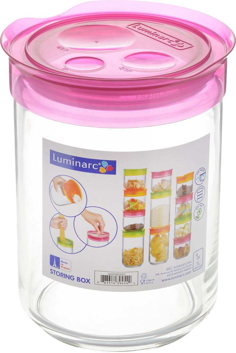 """Фото Банка для сыпучих продуктов Luminarc """"Storing Box"""", с крышкой, цвет: малиновый, 1 л. Купить  в РФ"""