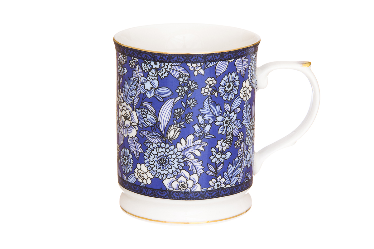 """Фото Кружка Elan Gallery """"Цветы"""", цвет: синий, 400 мл. Купить  в РФ"""