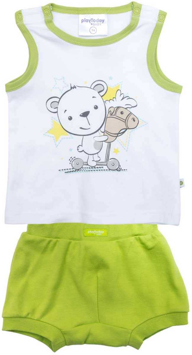 Фото Комплект для мальчика PlayToday: майка, шорты, цвет: белый, зеленый, серый, желтый. 177814. Размер 56. Купить  в РФ