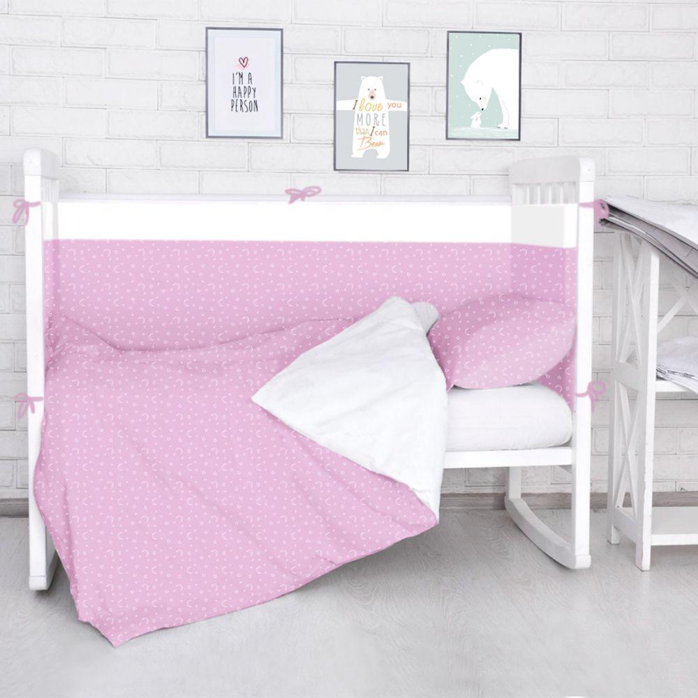 Baby Nice Бортик для кровати Луна Звездочки цвет розовый -  Бортики, бамперы