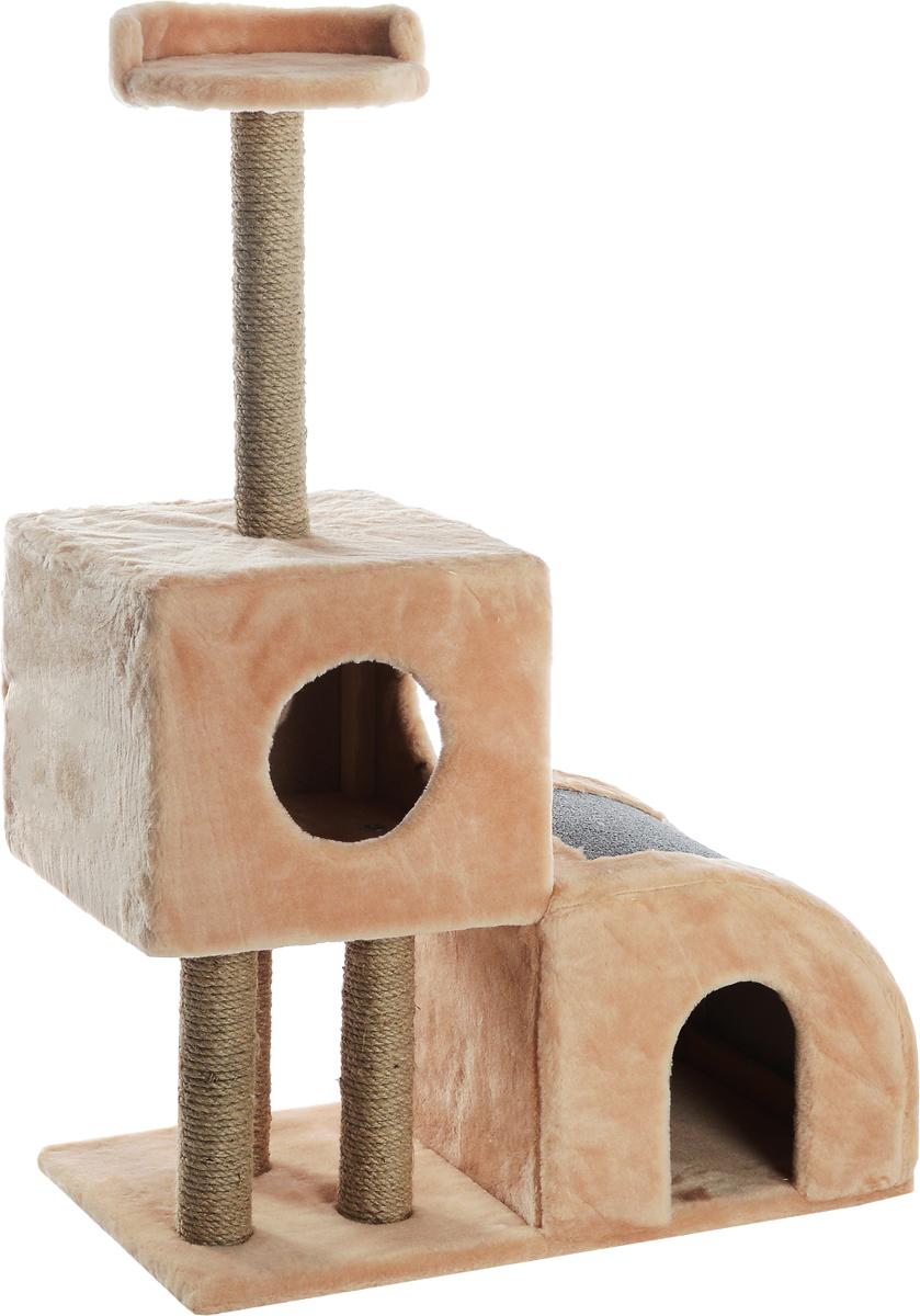 Домик-когтеточка  Меридиан , двухуровневый, цвет: светло-коричневый, бежевый, 71 х 36 х 110 см