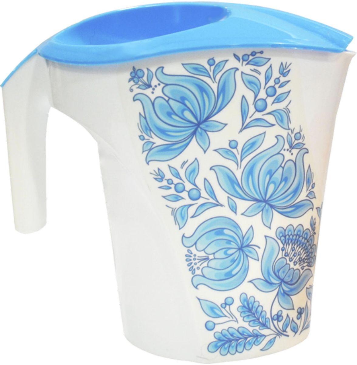 """Фото Кувшин Plastic Centre """"Цветы"""", цвет: голубой, белый, 3 л. Купить  в РФ"""