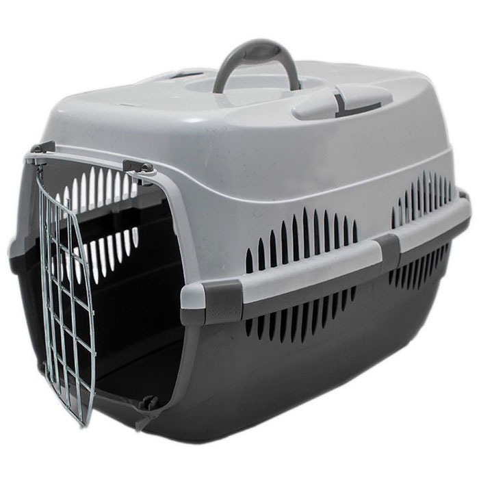 Переноска для животных  ZooM. Спутник , с металлической дверцей, до 12 кг, цвет: серый, 33 х 49 х 32 см
