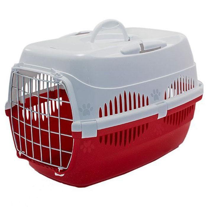 Переноска для животных  ZooM. Спутник , с металлической дверцей, до 12 кг, цвет: красный, белый, 33 х 49 х 32 см