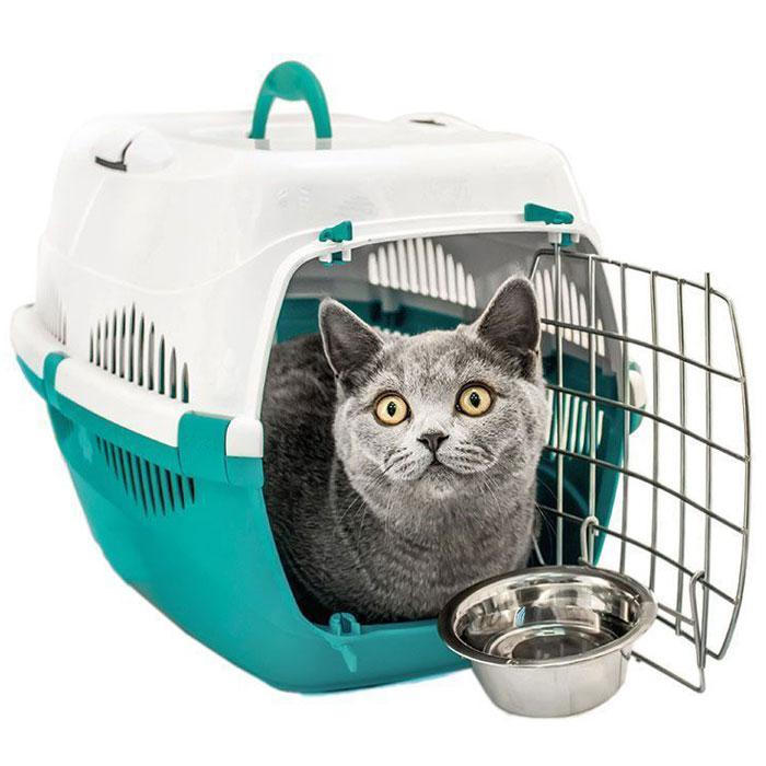 Переноска для животных  ZooM. Спутник , с металлической дверцей, с наплечным ремнем, до 12 кг, цвет: бирюзовый, белый, 33 х 49 х 32 см