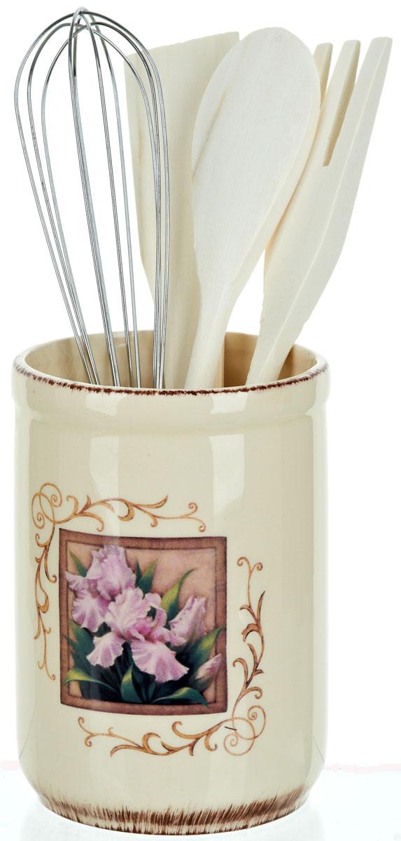"""Фото Подставка для столовых приборов ENS Group """"Розовый ирис"""", 5 предметов. Купить  в РФ"""