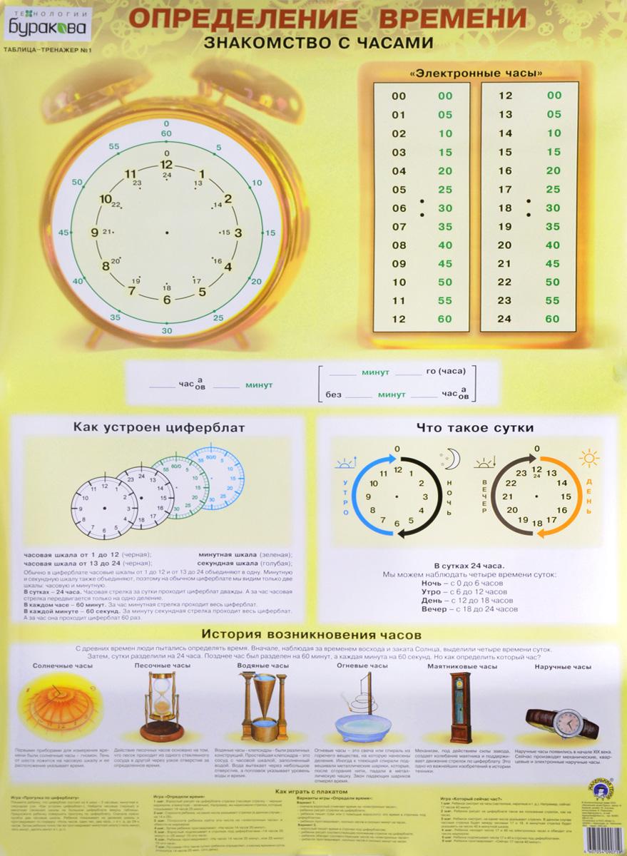 Фото Н. Бураков Определение времени. Таблица-тренажер. Купить  в РФ