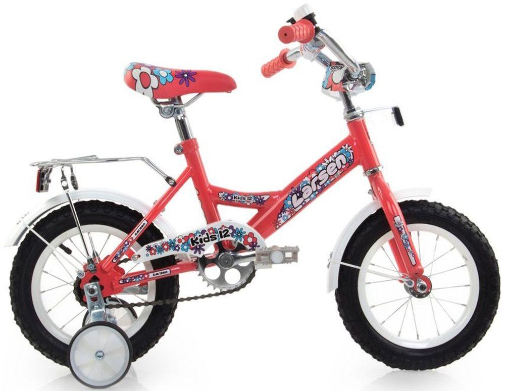 Велосипед детский Larsen  Kids 12 , цвет: коралловый -  Детские велосипеды