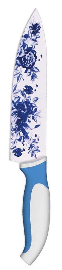 """Фото Нож поварской """"Ладомир"""", с антибактериальным покрытием, цвет: белый, синий, 20 см. Купить  в РФ"""
