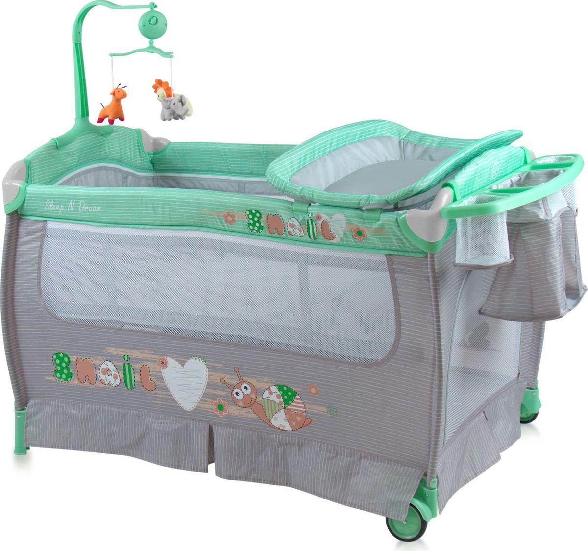 Lorelli Манеж-кроватка Sleep'N'Dream цвет зеленый серый -  Детская комната