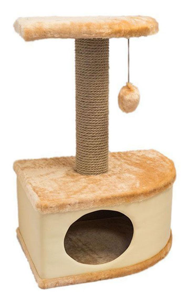 Домик-когтеточка Дарэлл  Конфетти , угловой, цвет: бежевый, 49 х 37 х 70 см