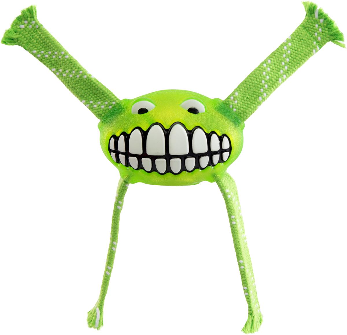 Игрушка для собак Rogz  Flossy Grinz. Зубы , цвет: лайм, длина 24 см