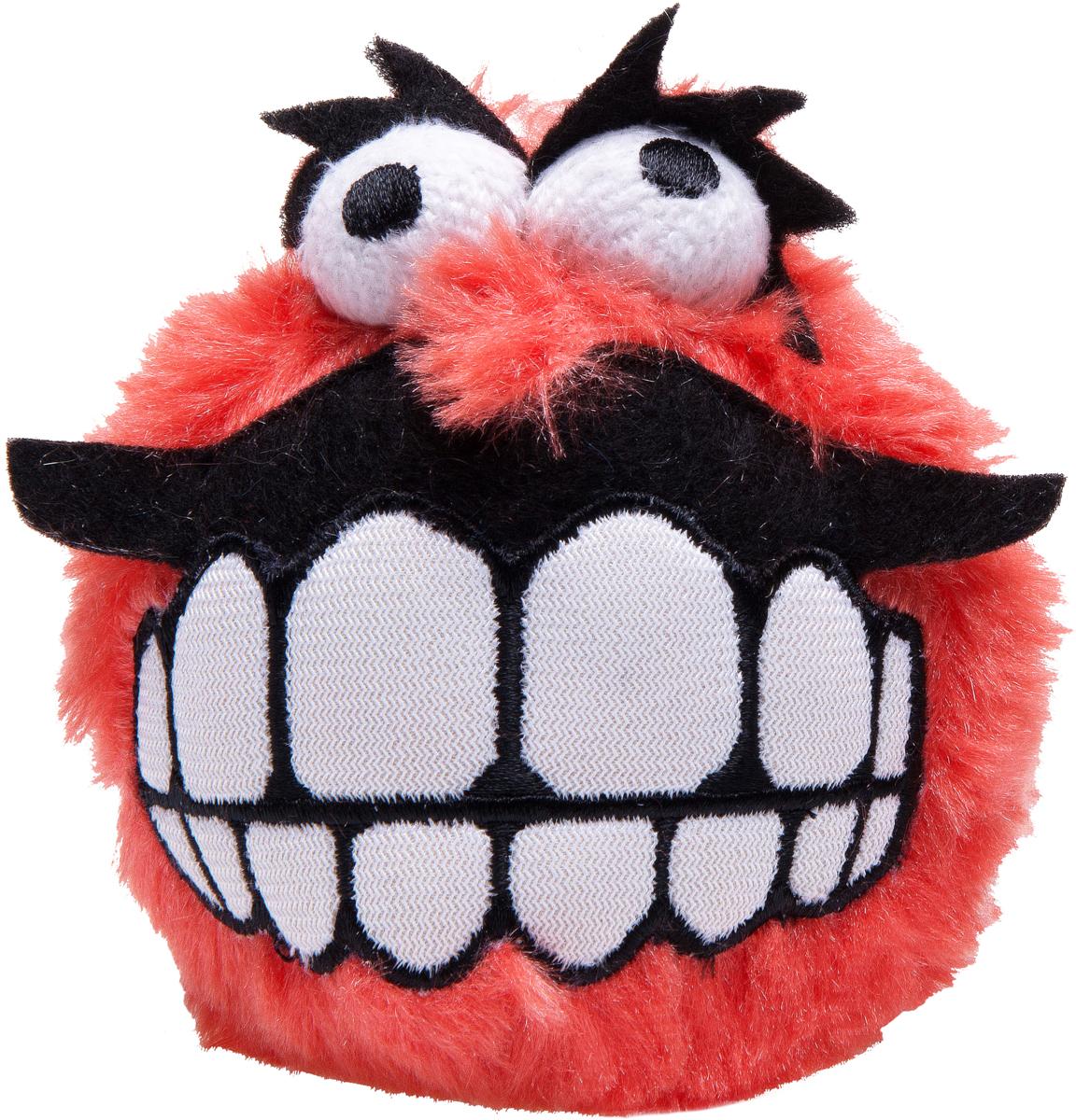 Игрушка для собак Rogz  Fluffy Grinz. Зубы , цвет: красный, диаметр 7,8 см