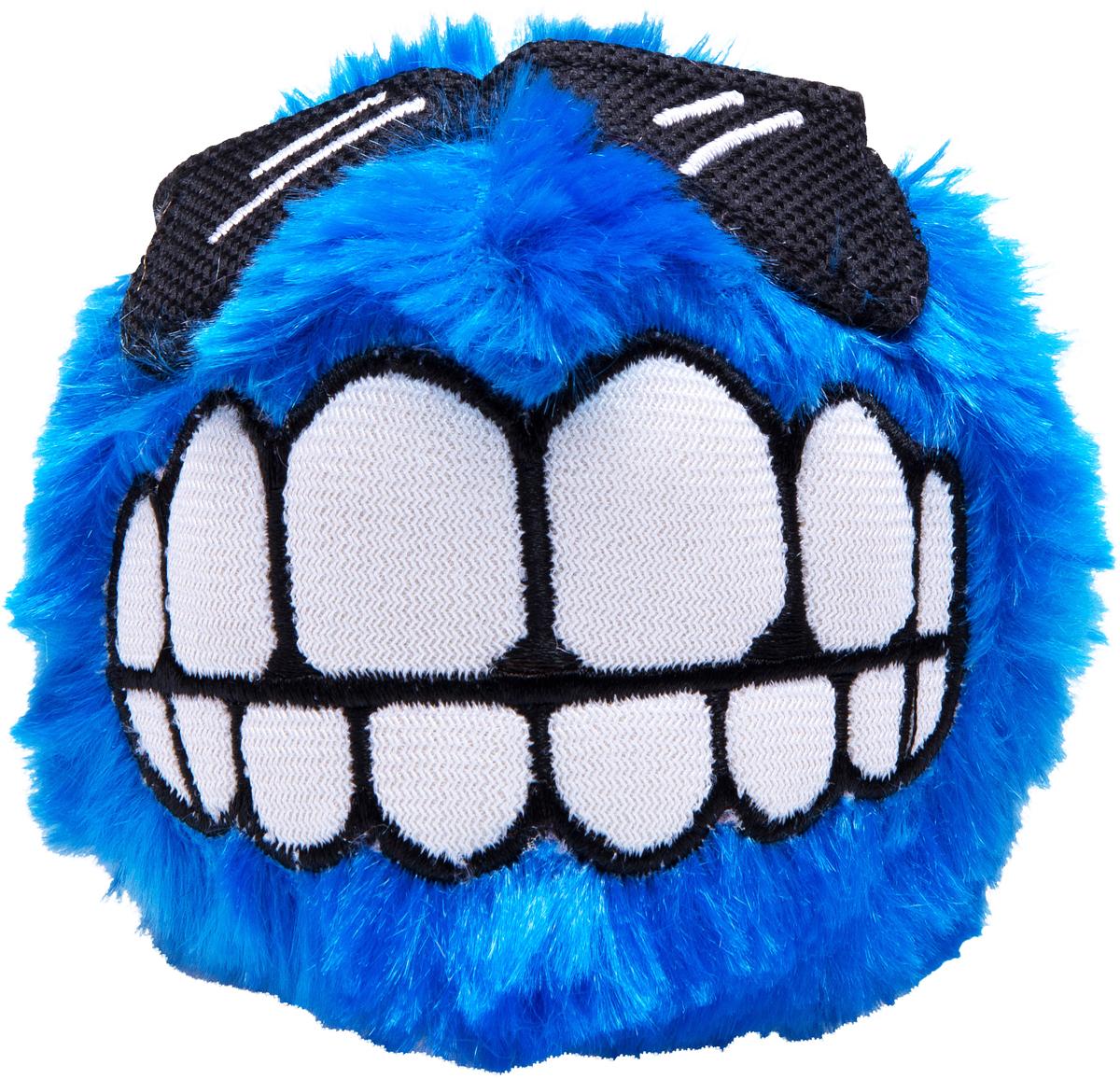 Игрушка для собак Rogz  Fluffy Grinz. Зубы , цвет: синий, диаметр 7,8 см