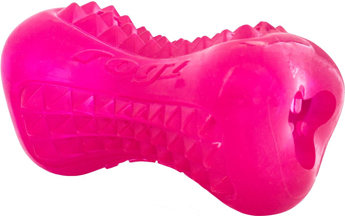 Игрушка для собак Rogz  Yumz. Косточка , с отверстием для лакомства, цвет: розовый, длина 11,5 см