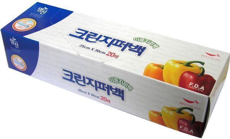 """Фото Пакеты для хранения продуктов Myungjin """"Bags Double Zipper Type"""", полиэтиленовые, пищевые, с двойной застежкой-зиппером, 25 x 30 см. Купить  в РФ"""