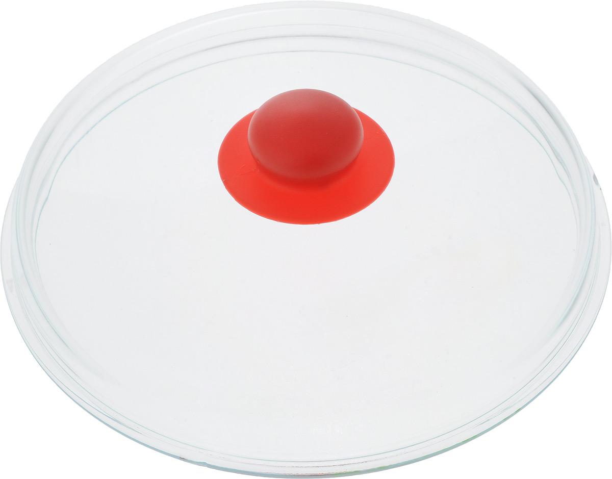 """Фото Крышка """"NaturePan"""", высокая, цвет: прозрачный, красный. Диаметр 24 см. Купить  в РФ"""