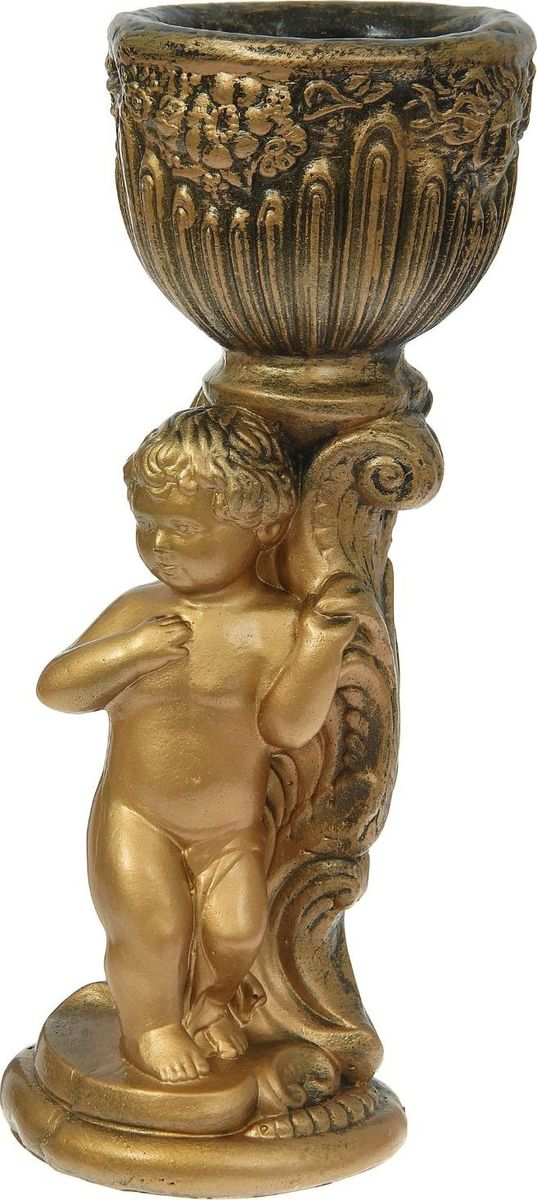 Кашпо  Мальчик у колонны , цвет: бронзовый, 25 х 23 х 48 см