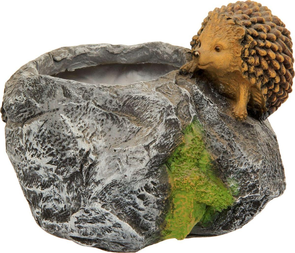 Кашпо  Камень с ежом , 16 х 15 х 18 см