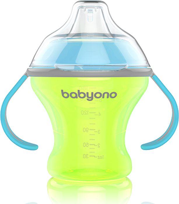 Фото BabyOno Поильник-непроливайка Natural Nursing с мягким носиком от 6 месяцев цвет желтый 180 мл. Купить  в РФ