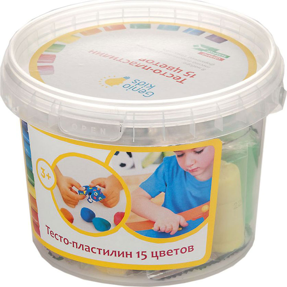 Genio Kids Тесто-пластилин 15 цветов -  Пластилин
