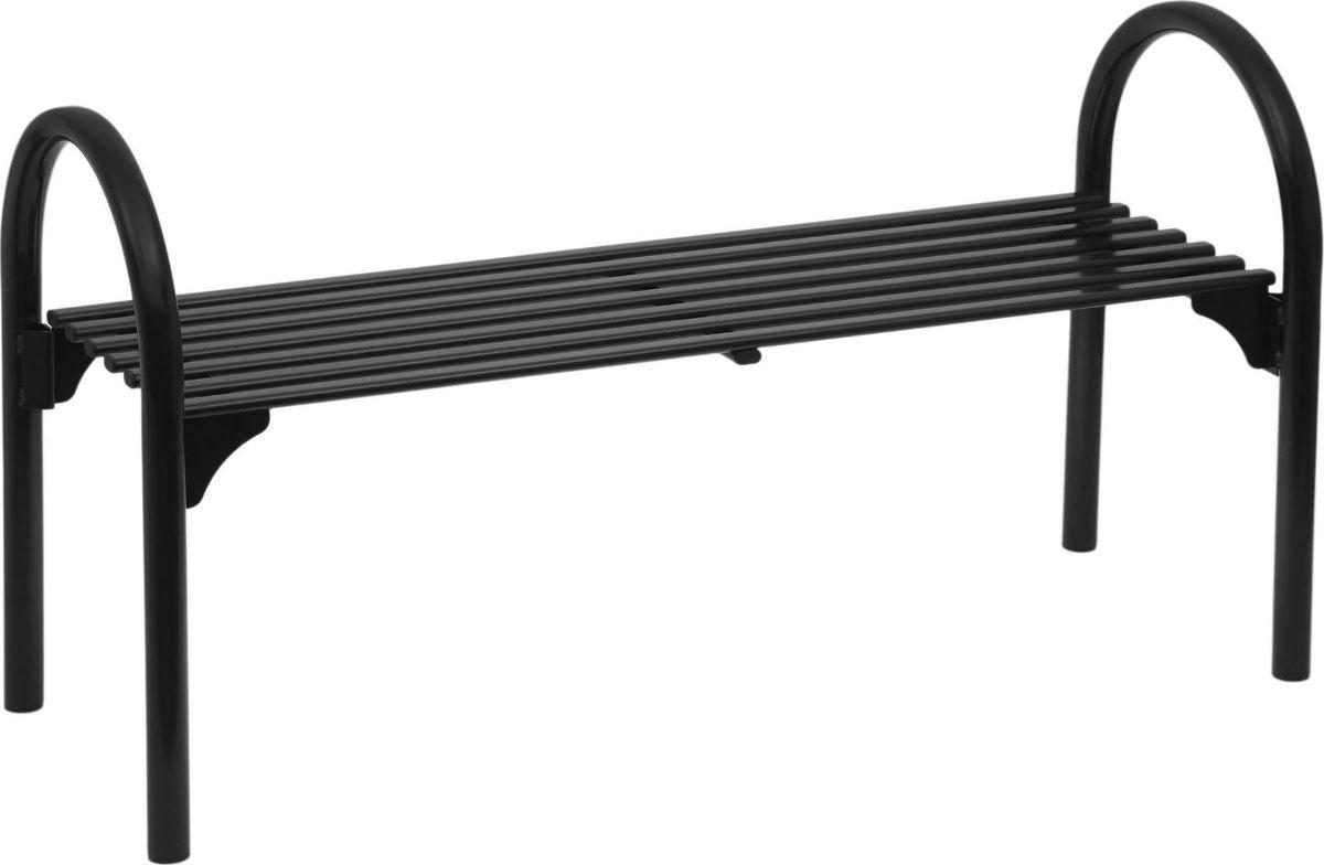 Скамья садовая  Беседа , двухместная, цвет: черный, 128 х 49 х 70 см. 2029652