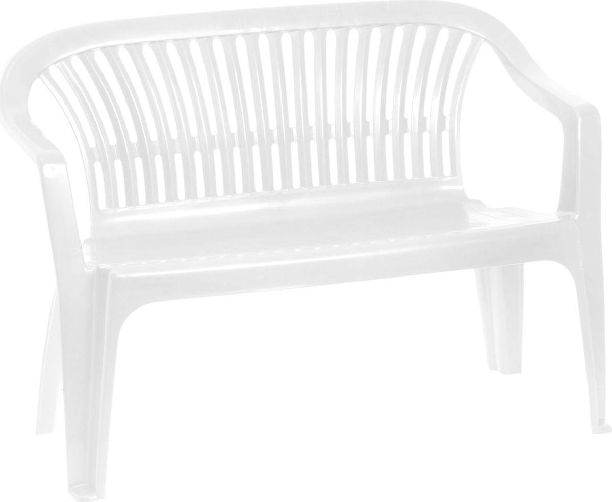 Скамья садовая  Престиж , со спинкой, двухместная, цвет: белый, 115 х 60 х 81 см. 2061313