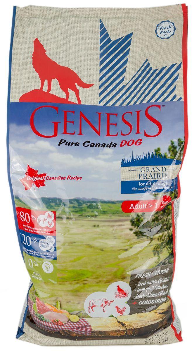 Корм сухой Genesis  Pure Canada Grand Praire  для собак с чувствительным пищеварением, с курицей, буйволом и перепелками, 11,79 кг