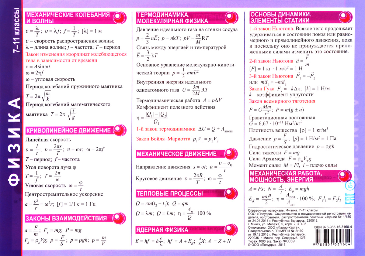 Справочные материалы по физике решебник