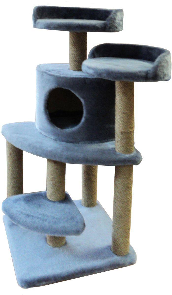Игровой комплекс для кошек ЛапкинДом  Майя , с домиком и когтеточкой, цвет: серый, 50 х 50 х 100 см
