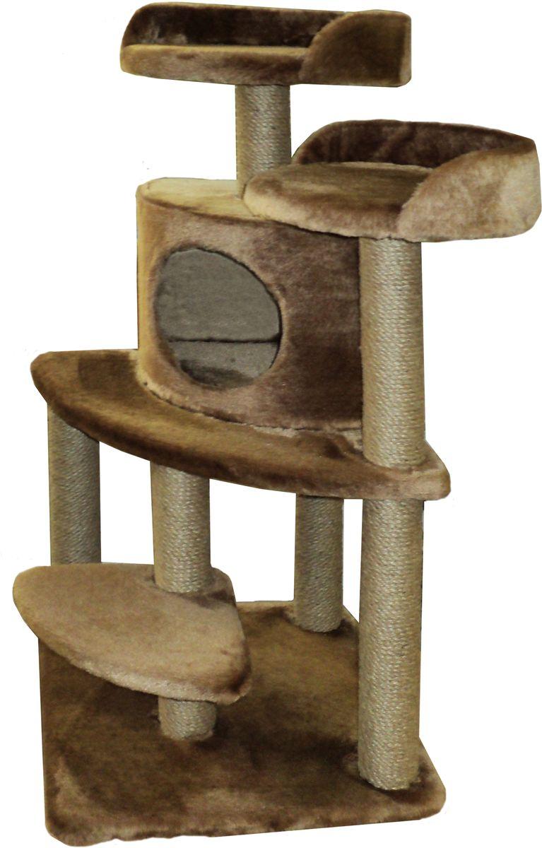 Игровой комплекс для кошек ЛапкинДом  Майя , с домиком и когтеточкой, цвет: коричневый, 50 х 50 х 100 см