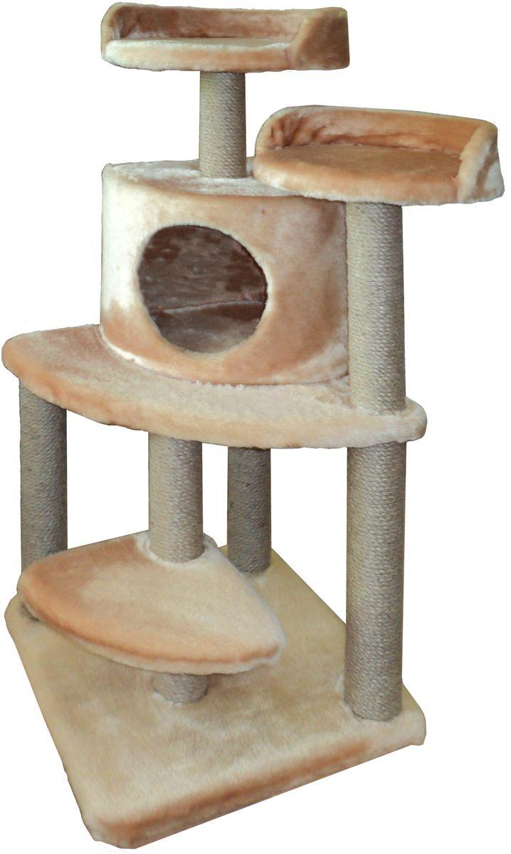 Игровой комплекс для кошек ЛапкинДом  Майя , с домиком и когтеточкой, цвет: кремовый, 50 х 50 х 100 см
