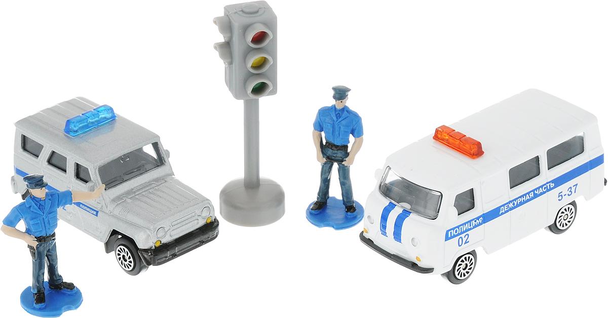 Фото ТехноПарк Набор машинок Полиция УАЗ с фигурками. Купить  в РФ