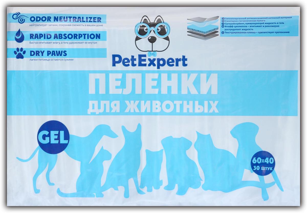 Пеленки для животных  PetExpert , гелевые, 60 х 40 см, 30 шт