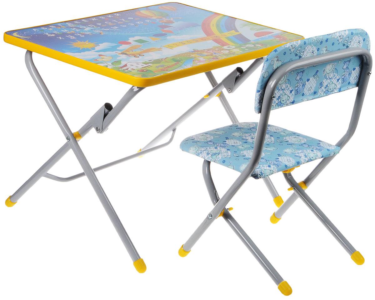 Фея Набор складной детской мебели Досуг Алфавит и цифры цвет голубой желтый -  Детская комната