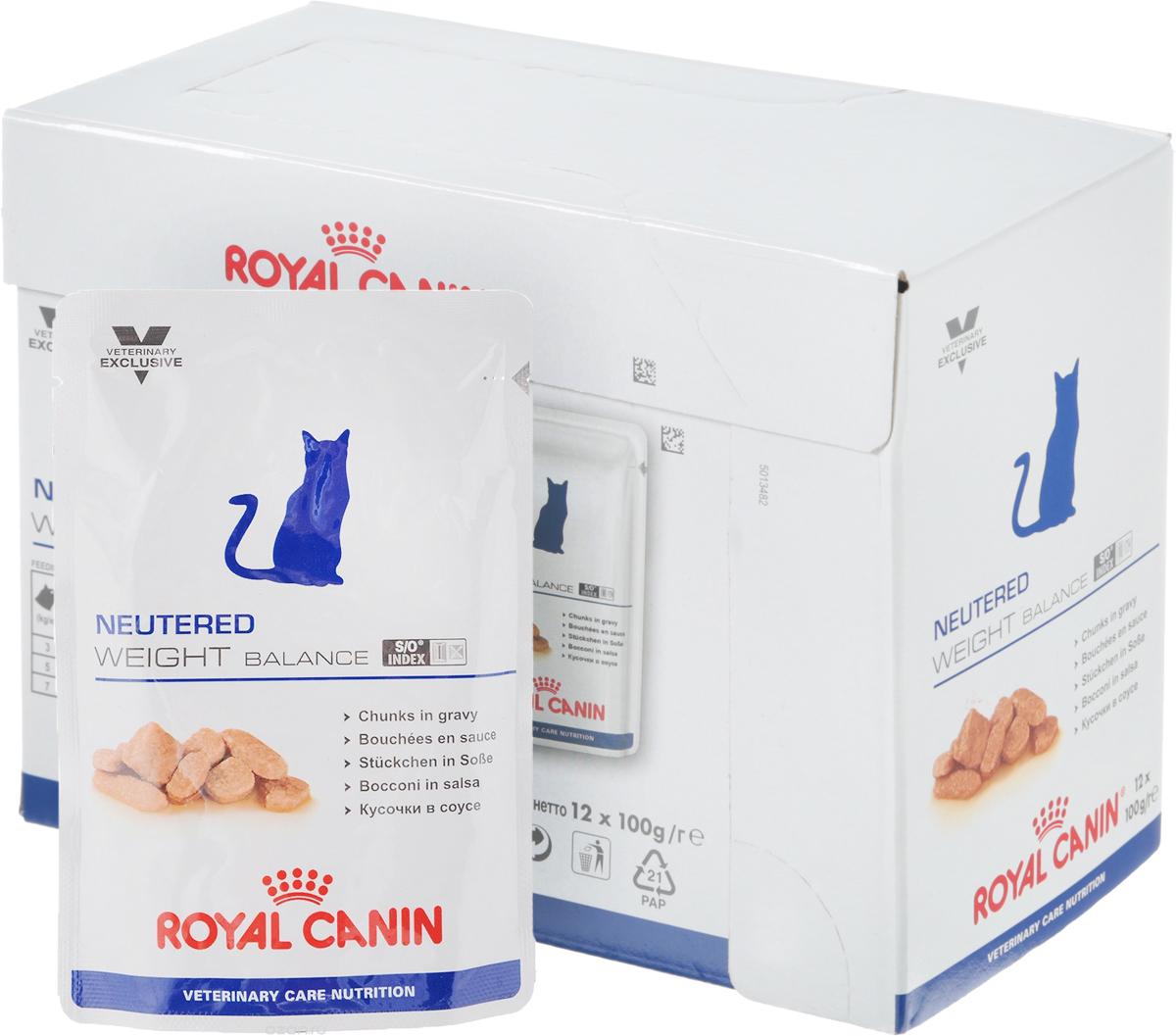 Консервы Royal Canin  Neutered Weight Balance  для кастрированных котов и стерилизованных кошек, склонных к ожирению, 100 г, 12 шт