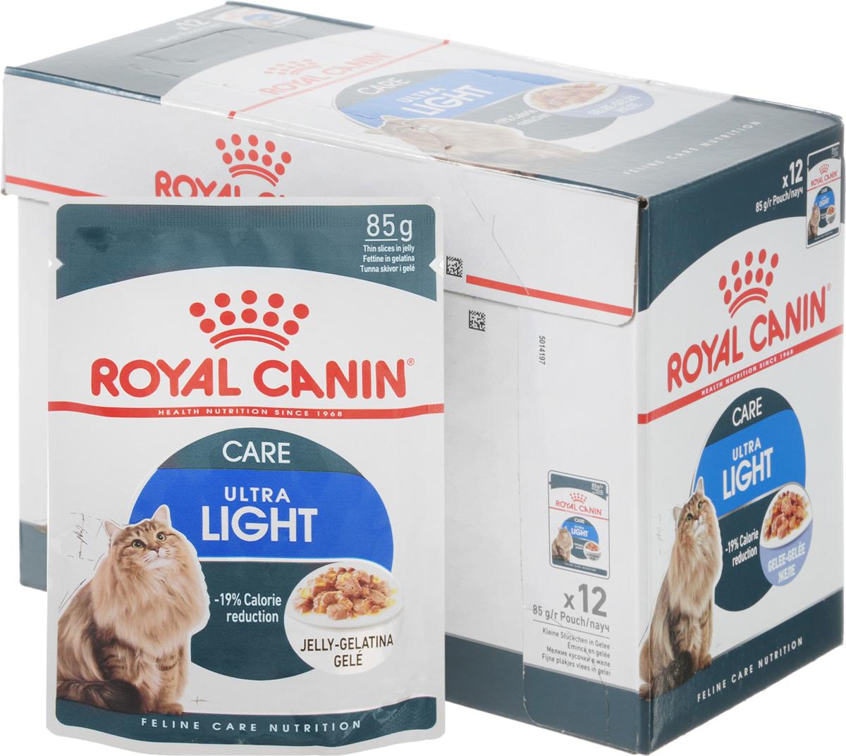Консервы Royal Canin  Ultra Light , для кошек, склонных к полноте, мелкие кусочки в желе, 85 г, 12 шт