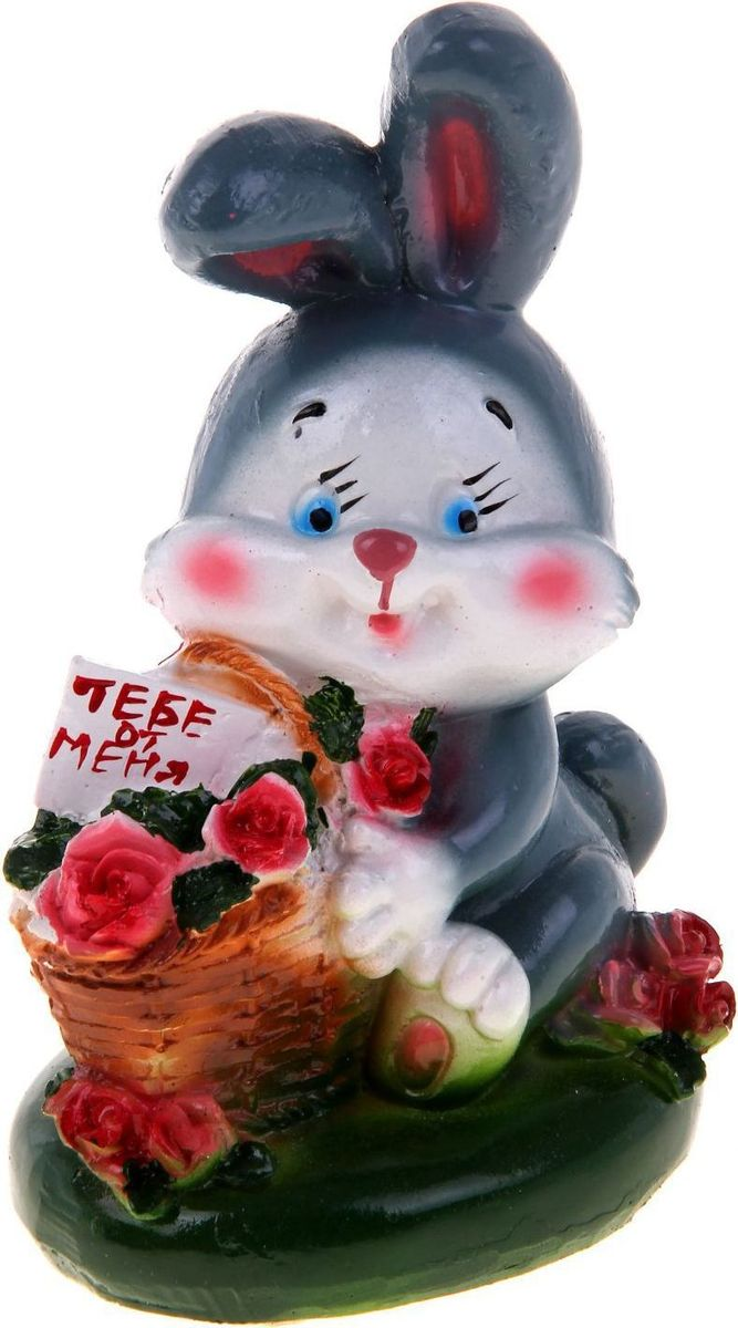 "Фото Копилка ""Кролик с корзиной роз"", 9 х 13 х 17 см. Купить  в РФ"