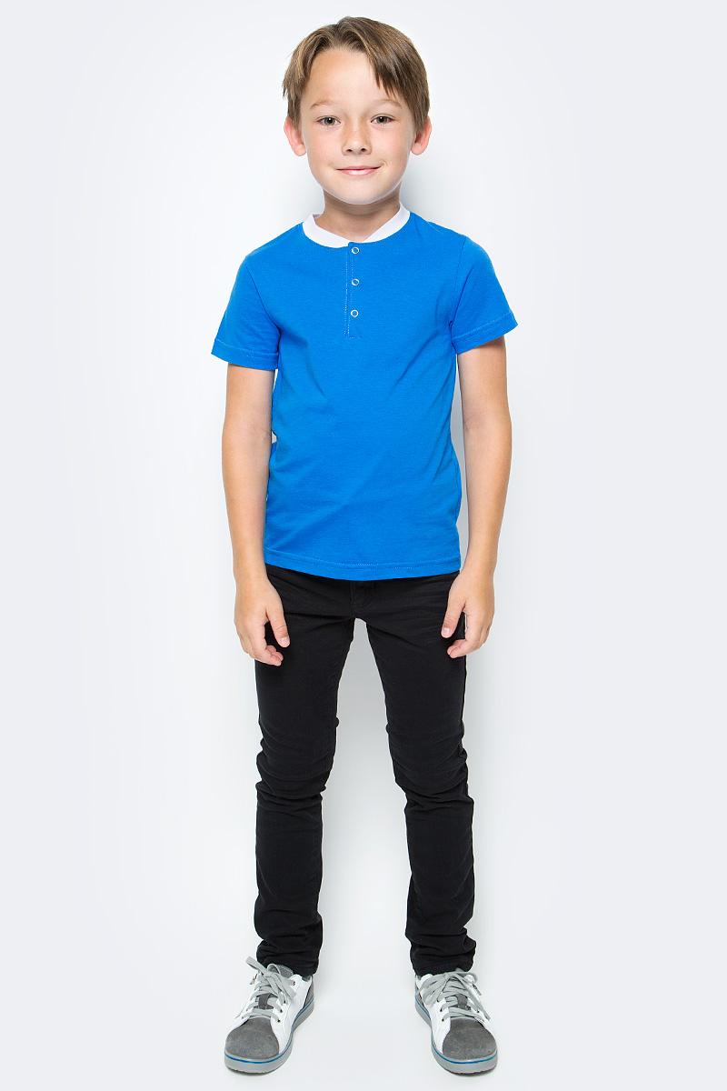 Фото Футболка для мальчика M&D, цвет: синий, белый. ФМ160401. Размер 140. Купить  в РФ