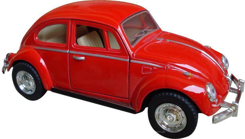 Фото Kinsmart Модель автомобиля Volkswagen Classical Beetle цвет красный. Купить  в РФ