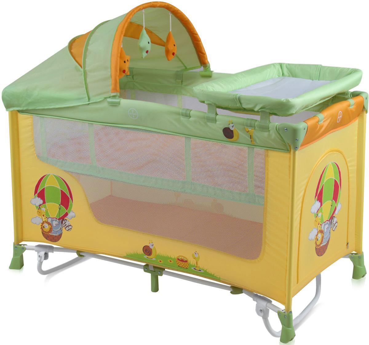 Lorelli Манеж-кроватка Nanny 2 Plus Rocker цвет желтый салатовый -  Детская комната