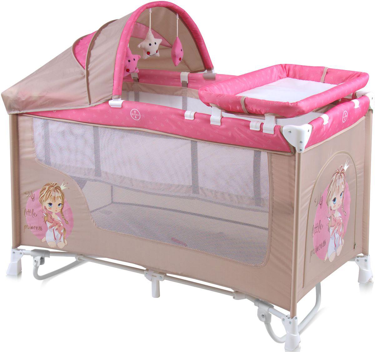 Lorelli Манеж-кроватка Nanny 2 Plus Rocker цвет бежевый розовый -  Детская комната