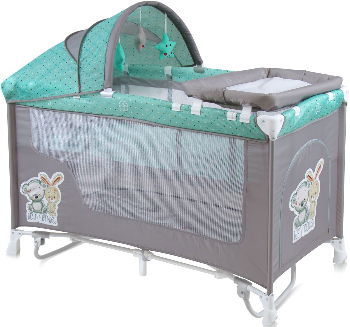 Lorelli Манеж-кроватка Nanny 2 Plus Rocker цвет серый зеленый -  Детская комната