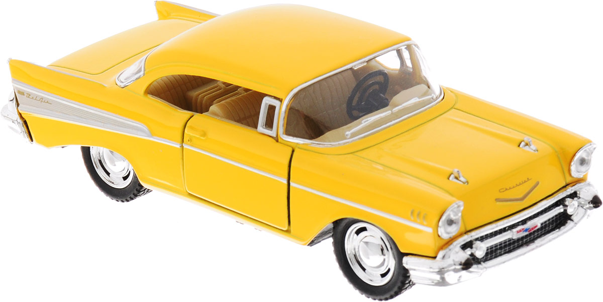 Фото Kinsmart Модель автомобиля Chevrolet Bel Air 1957 цвет желтый. Купить  в РФ