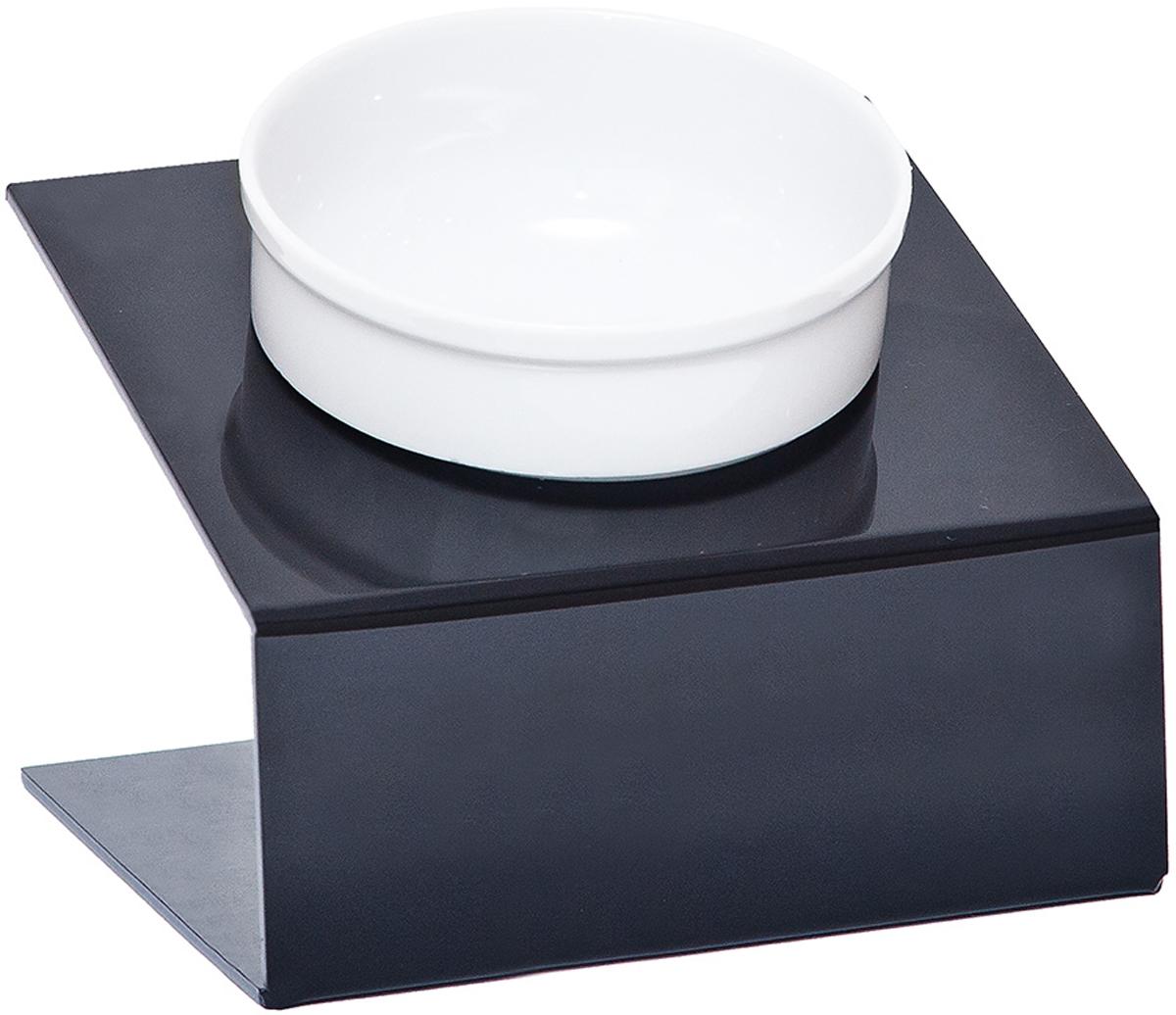 Миска для животных  Artmiska , одинарная, на подставке, цвет: черный, 350 мл