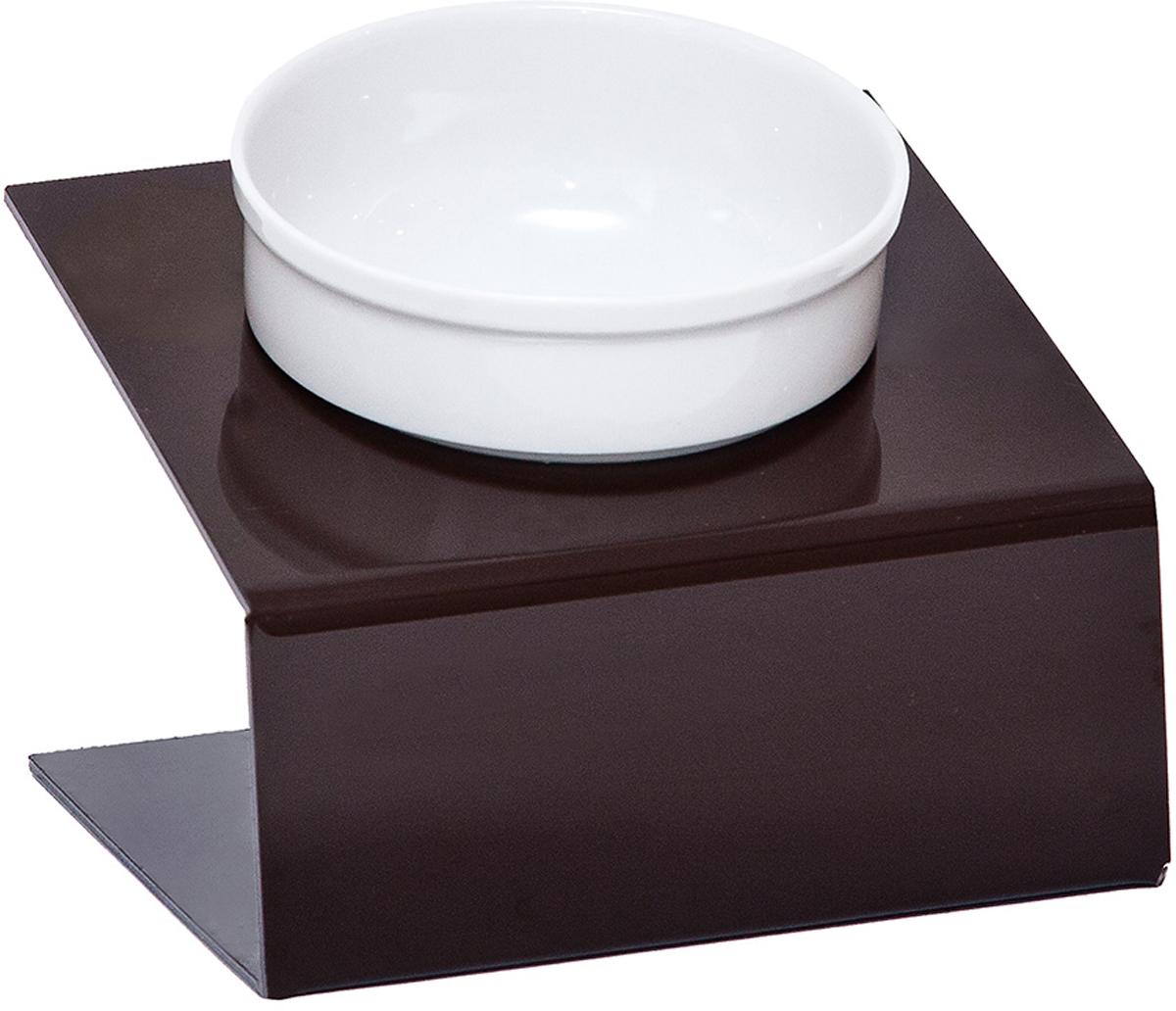 Миска для животныx  Artmiska , одинарная, на подставке, цвет: коричневый, 1 x 350 мл