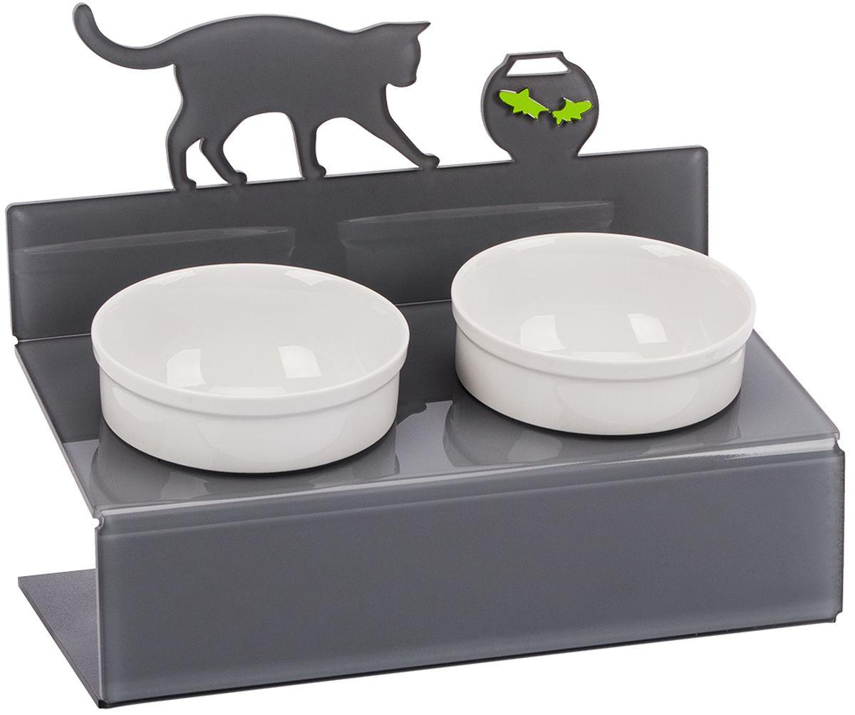 Миска для животныx Artmiska  Кот и рыбы , двойная, на подставке, цвет: серый, 2 x 350 мл